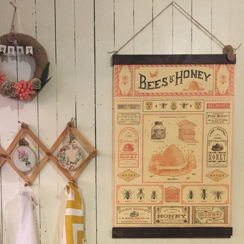 Bees and Honey Poster Wall Hanging