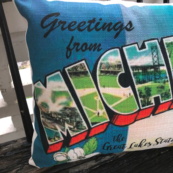 Michigan Postcard Pillow