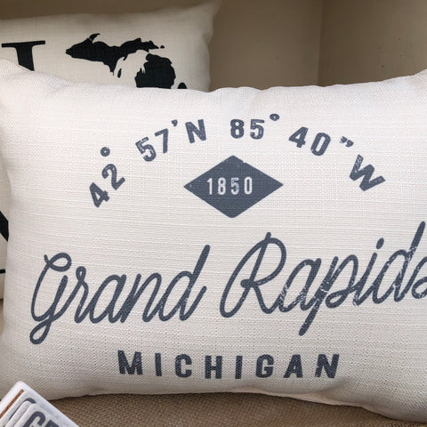Grand Rapids Michigan City Coordinates Pillow
