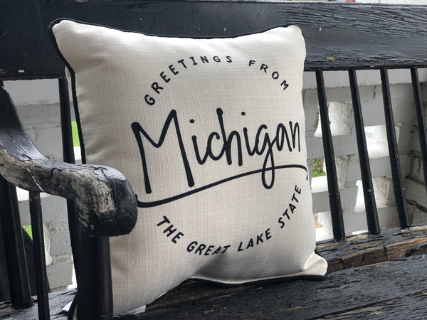 Greetings from Michigan Pillow