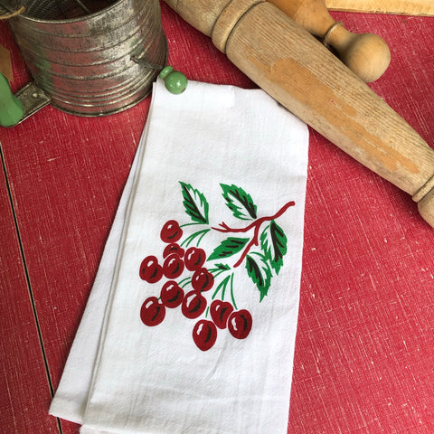 Vintage Cherries Tea Towel