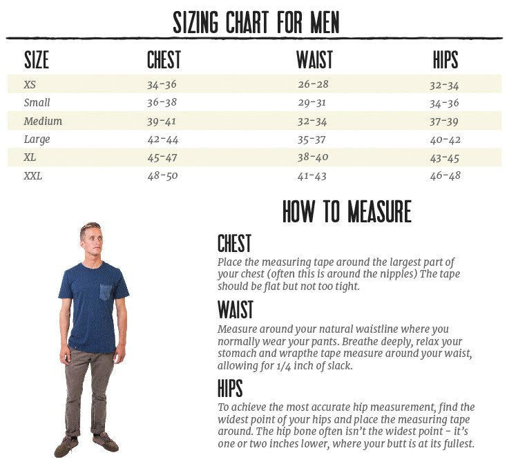 PuraKai Sizing Chart for Men