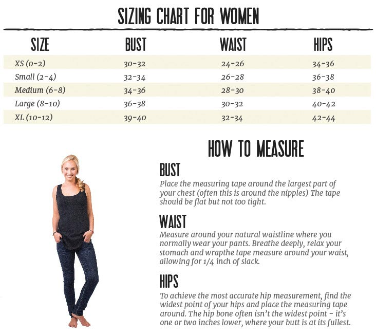 PuraKai Sizing Chart for Women