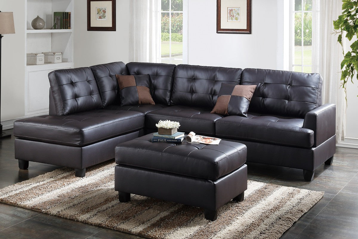 Espresso faux leather sectional sofa w ottoman trader dans furniture bedding