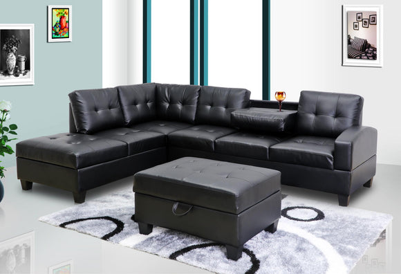 Black Faux Leather Sectional w/Console & Storage Ottoman