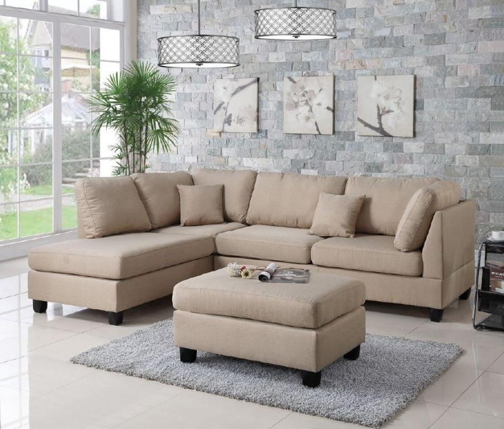 Sand Color Linen Sectional Sofa w/Ottoman