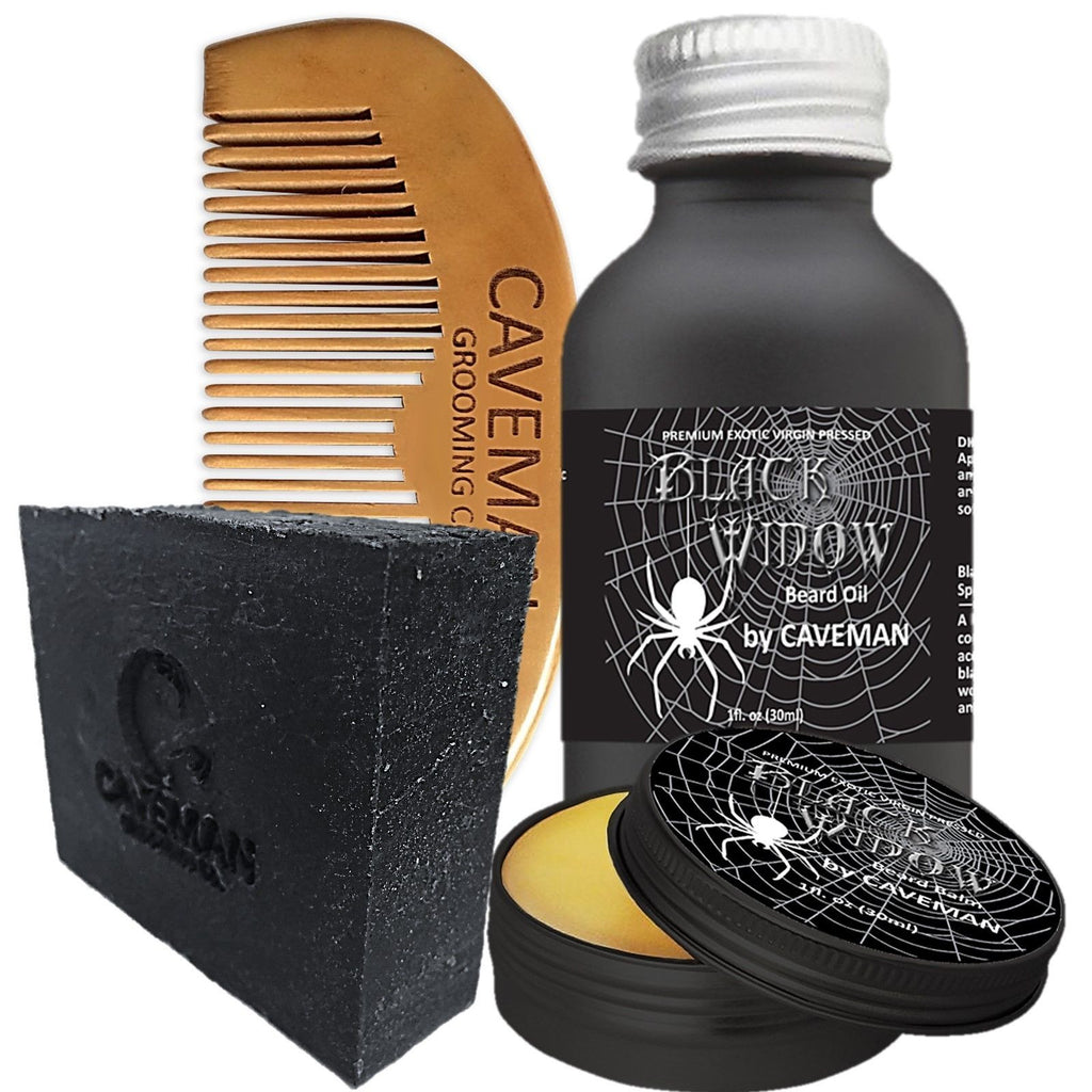 Black Widow Oil, Beard Balm, Charcoal Soap, Handmade Comb Set