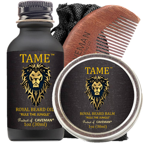 "Caveman ""Tame"" Special Edition Set, 1oz Beard Oil, Beard Balm and Handmade Comb"