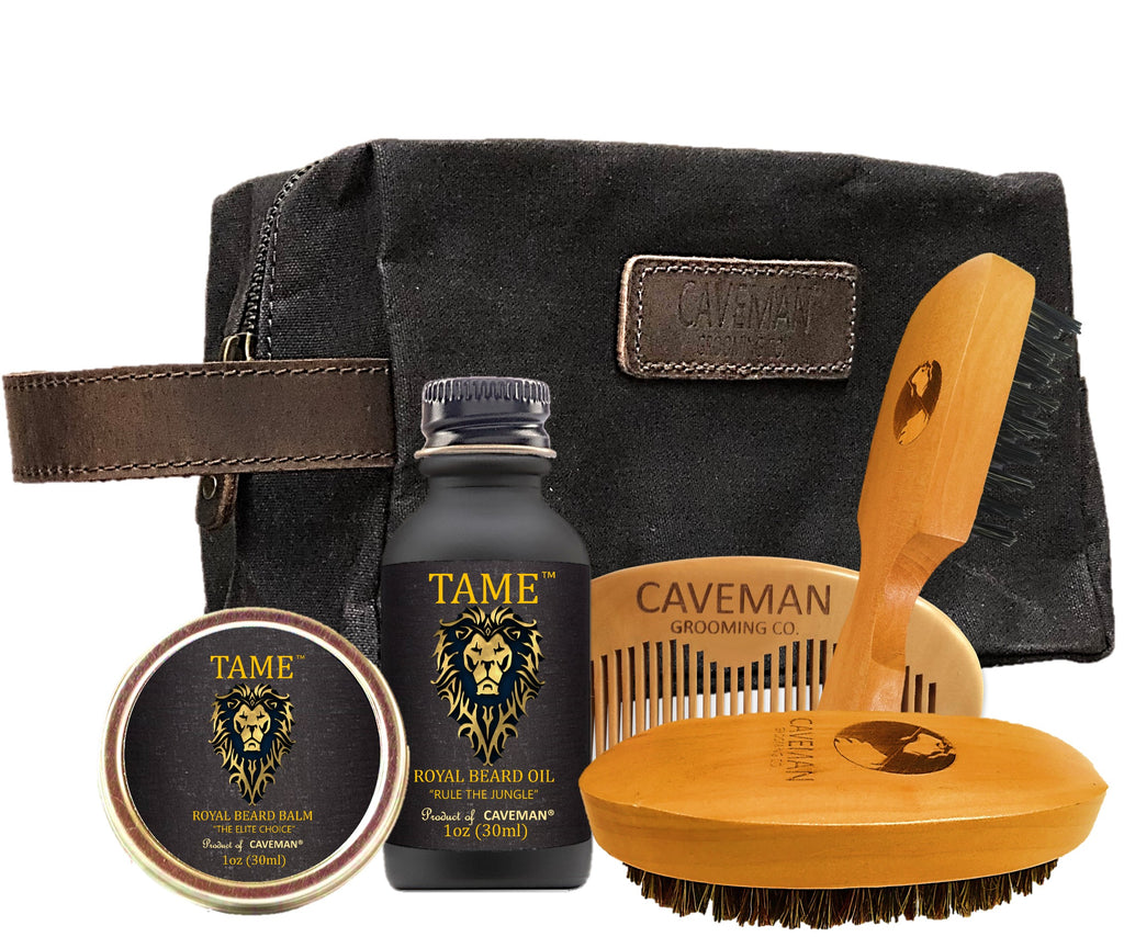 "Caveman handmade luxury waxed canvas and leather DOPP gift set ""Tame Scent"""