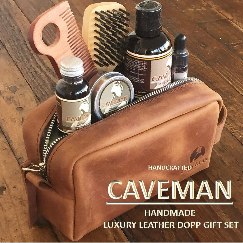 Caveman handmade luxury leather DOPP gift set