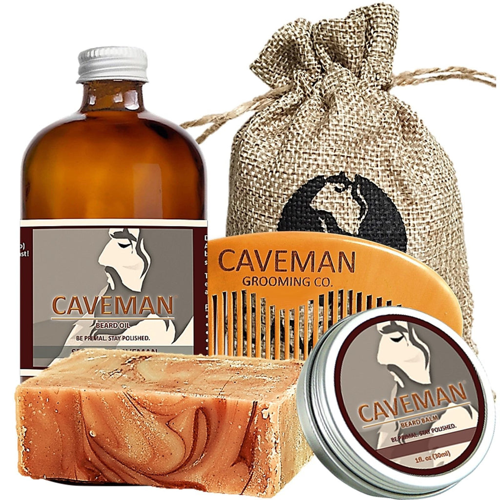 Balm Free Beard Brush Hand Crafted Caveman® Beard Oil Gift Set Kit Beard Oil Health & Beauty
