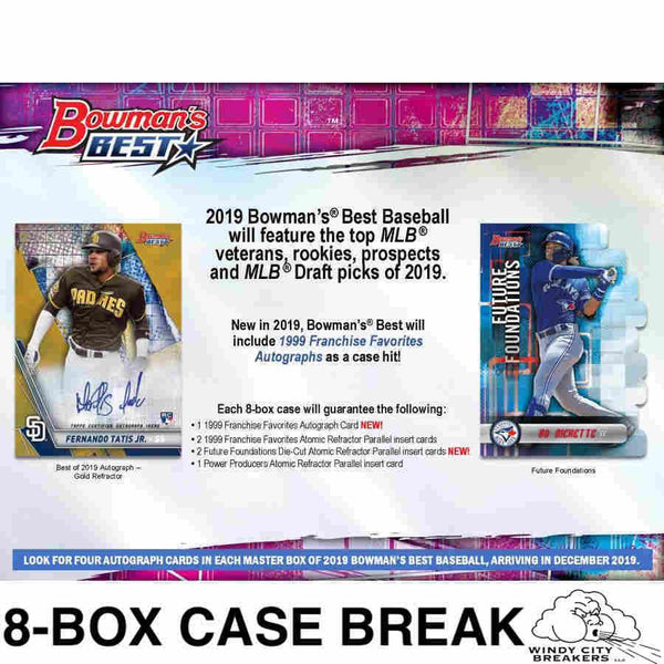 2019 Bowman's Best Baseball 8-Box Case Pick Your Team #2 - EBAY LISTINGS END TUESDAY 12/17 @ 10:30PM CT, BREAKS WEDNESDAY 12/18 @ 10PM CT