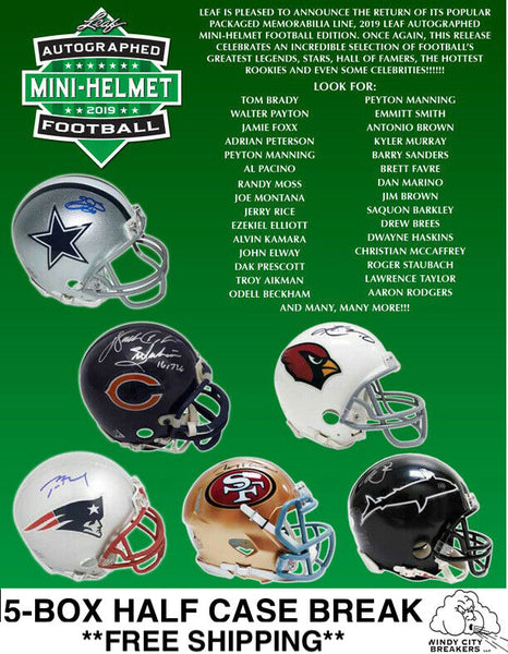 2019 Leaf Autographed Mini Helmet 5-Box Half Case Pick Your Team #1 - EBAY LISTINGS END SATURDAY 11/16 @ 9:30PM CT, BREAKS SUNDAY 11/17 @ 4PM CT