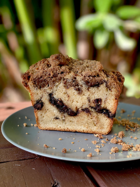 sour cream coffee cake with chocolate chunks, espresso and cinnamon streusel (special orders only)