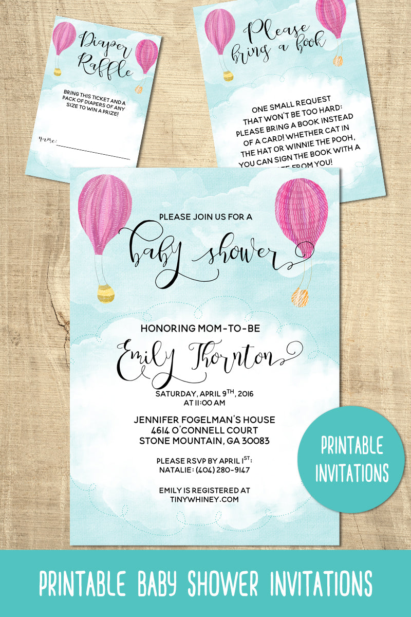 Hot Air Balloon Baby Shower Invitation Suite – Tiny Whiney