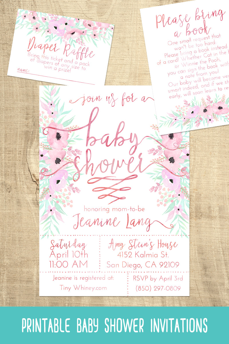 Pale Pink Baby Shower Invitation Suite – Tiny Whiney