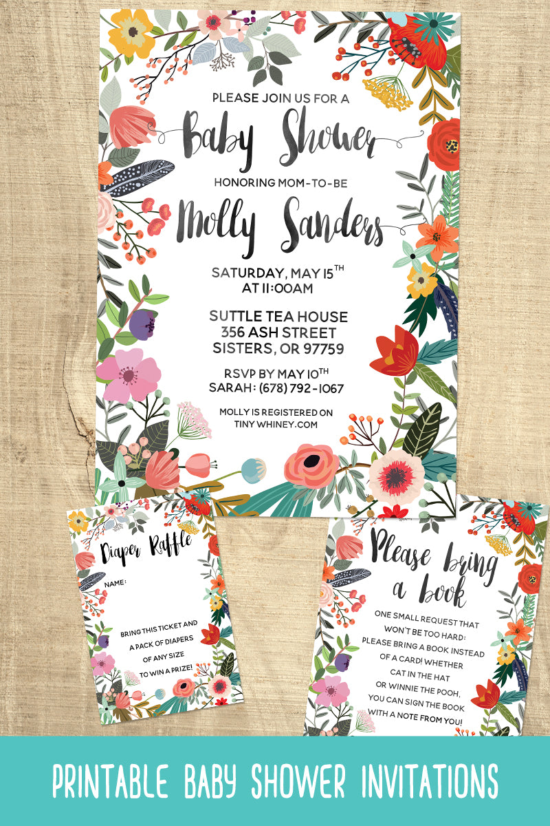 Floral Baby Shower Invitation Suite – Tiny Whiney