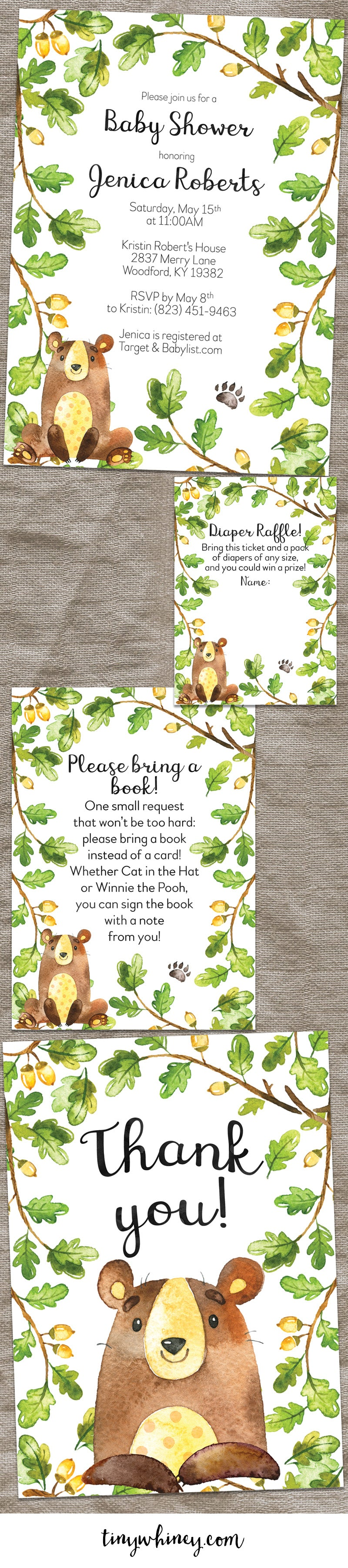 Forest Bear Baby Shower Invitation Suite – Tiny Whiney