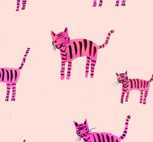 Reusable Cotton Mask - Striped Cats (Pink)