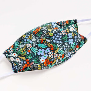 Reusable Cotton Mask - Flowers on Charcoal