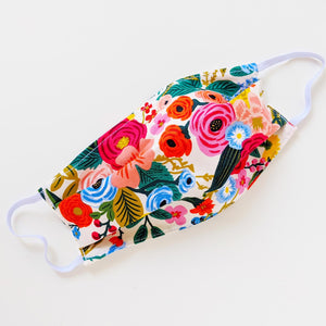 Reusable Cotton Mask - Large Flowers (White)