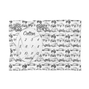 Vintage Cars Personalized Baby Blanket - Tiny Whiney