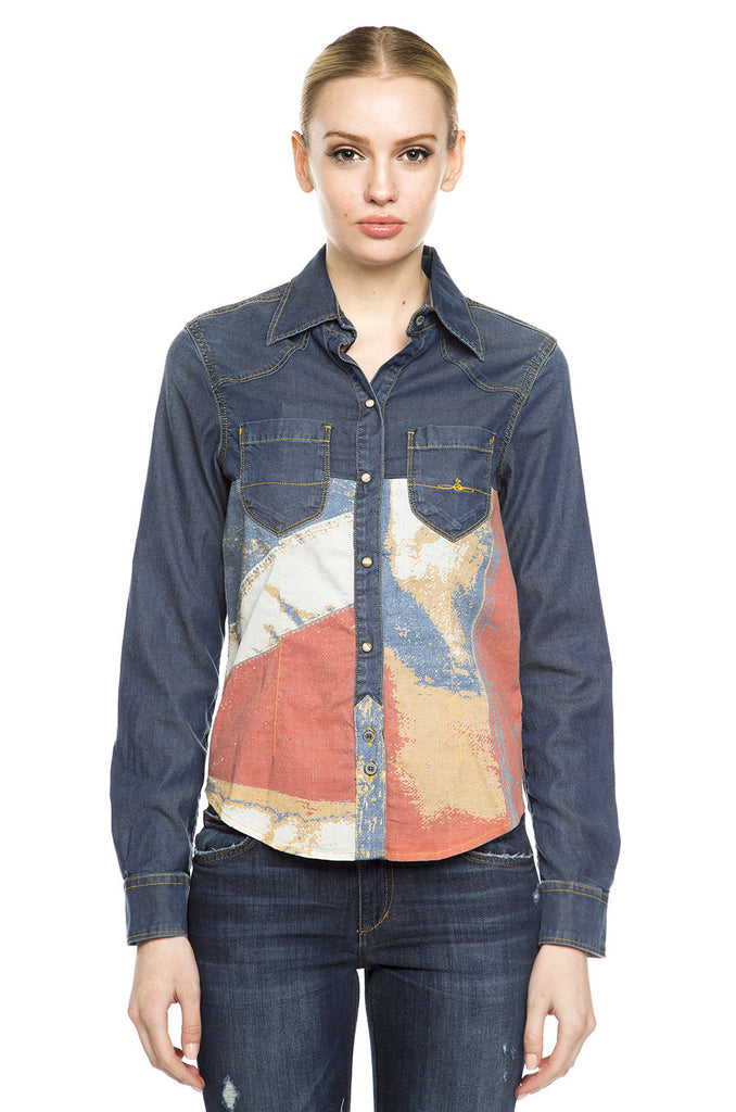 Lillie Printed Denim Shirt
