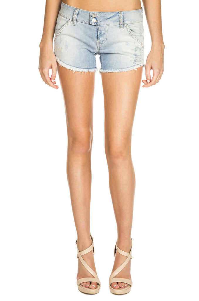 X-Pampelonne Denim Stretch Shorts