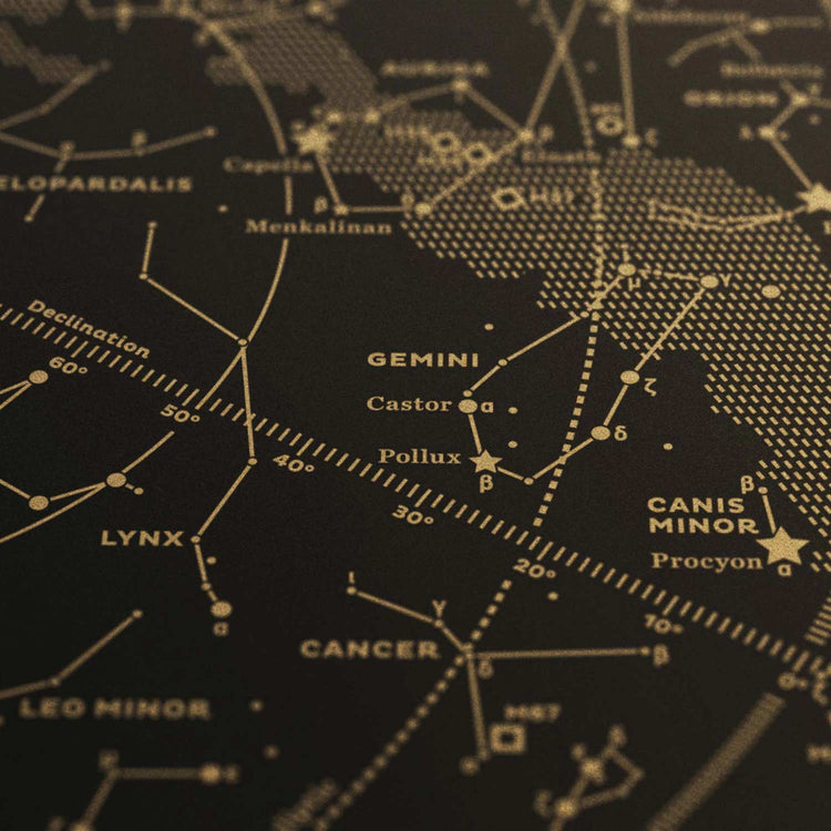 Stellar Map Constellation Prints: Map I — The Northern Sky (Gold/Black)