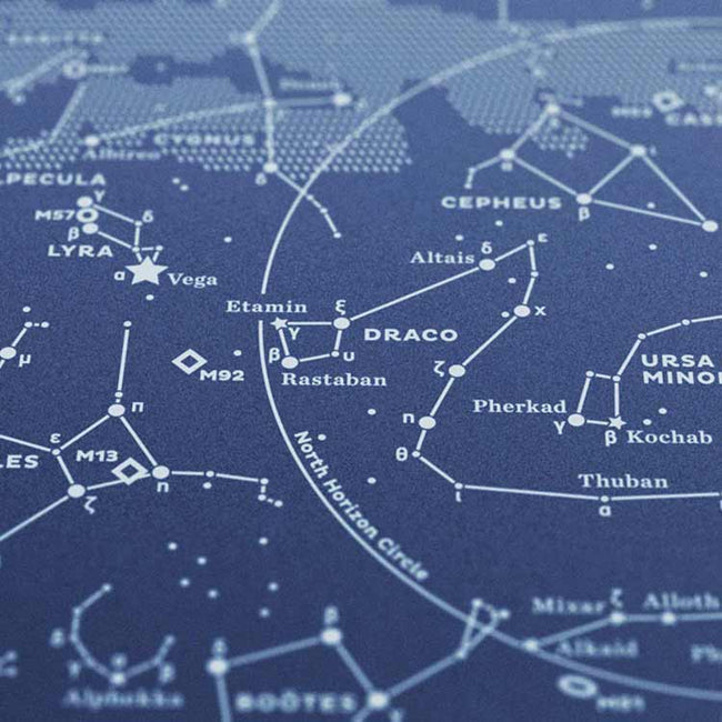 Stellar Map Constellation Prints: Map I — The Northern Sky (Night-Blue)