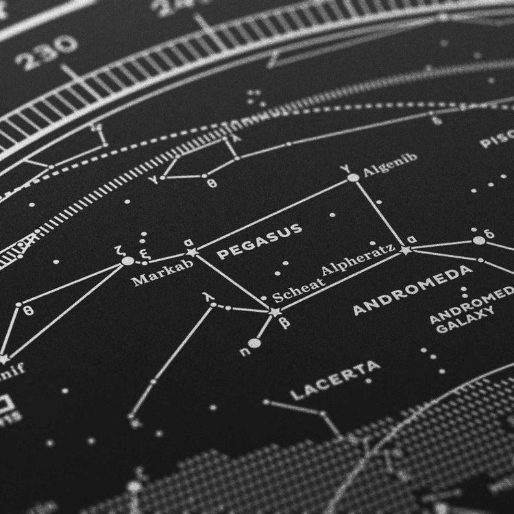 Stellar Map Constellation Prints: Map I — The Northern Sky (Silver/Black)