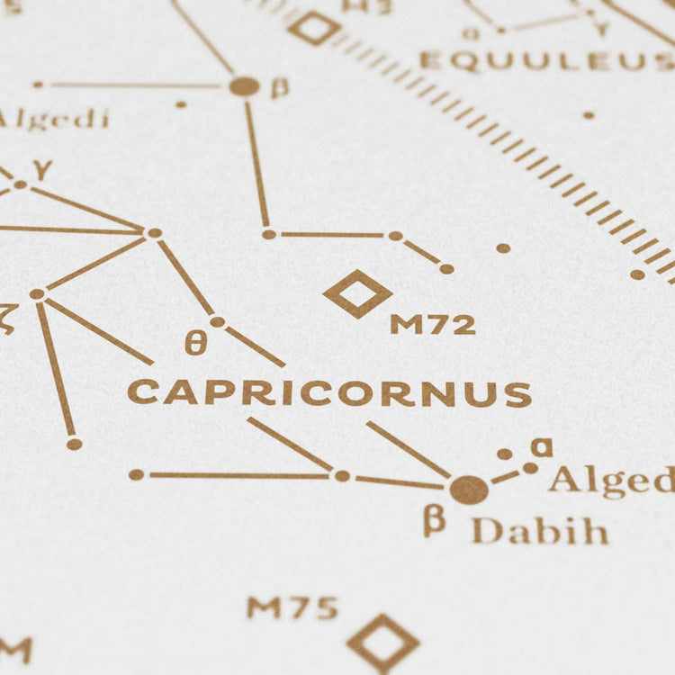 Stellar Map Constellation Prints: Map II — The Southern Sky (Gold/White)