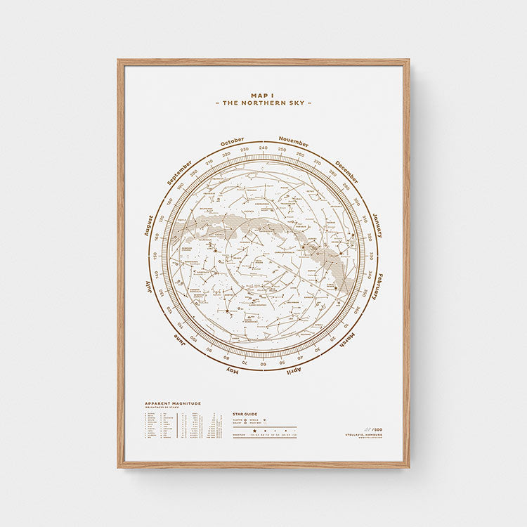 Stellar Map Constellation Prints: Map I — The Northern Sky (Gold/White)