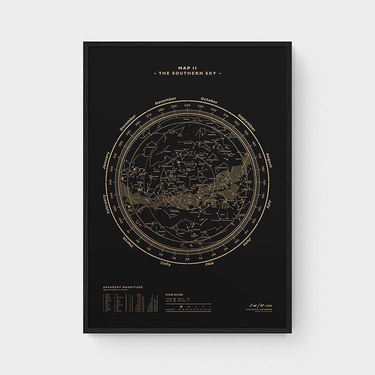 Stellar Map Constellation Prints: Map II — The Southern Sky (Gold/Black)