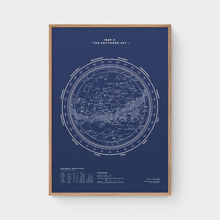 Stellar Map Constellation Prints: Map II — The Southern Sky (Night-Blue)