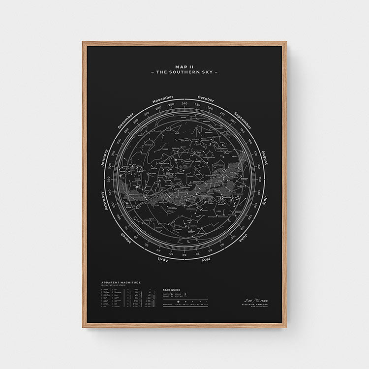 Stellar Map Constellation Prints: Map II — The Southern Sky (Silver/Black)