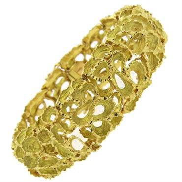 thumbnail image of French 1960s Free Form Textured 18k Gold Bracelet