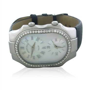 image of Philip Stein Teslar Dual Time Mother Of Pearl Diamond Ladies Watch