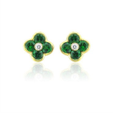 thumbnail image of New Gumuchian 18K Gold Diamond Large Fleur Tsavorite Earrings