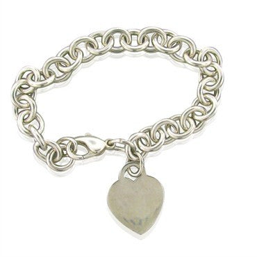 thumbnail image of Estate Tiffany & Co Sterling Silver Heart Chain Link Bracelet