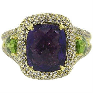 image of Charles Krypell Peridot Amethyst Diamond Gold Ring