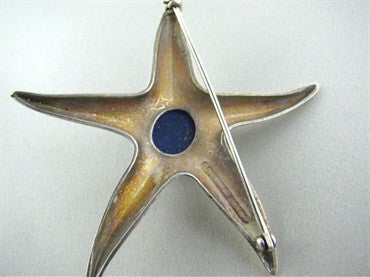 thumbnail image of Vintage Tiffany & Co Lapis Sterling Silver Starfish Brooch Pin
