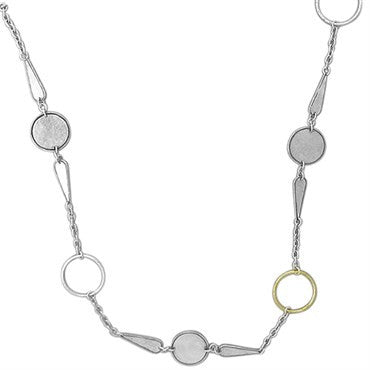 thumbnail image of New Gurhan 24K Gold Sterling Silver Long Circle Link Necklace