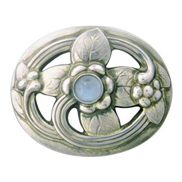 thumbnail image of Georg Jensen Sterling Silver Moonstone Brooch Pin 138