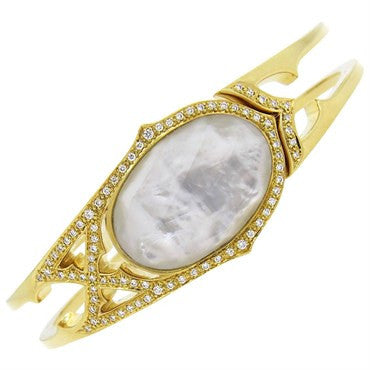 image of Stephen Webster Crystal Mother of Pearl Diamond Gold Bangle Bracelet