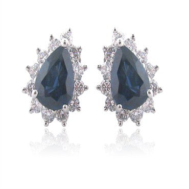 image of Tiffany &Co Platinum 2.83ct Sapphire Diamond Earrings