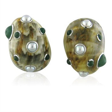 thumbnail image of Estate Trianon 18K Gold Jade Pearl Seashell Earrings