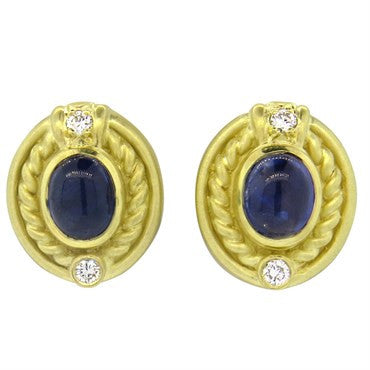 image of Judith Ripka Gold Sapphire Cabochon Diamond Earrings
