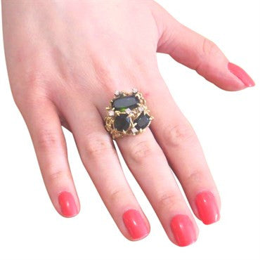 thumbnail image of 1970s Tourmaline Diamond 18K Gold Ring