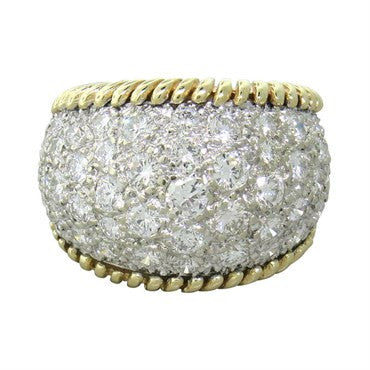 image of 1970s 18k Gold 4.00ctw Diamond Dome Ring